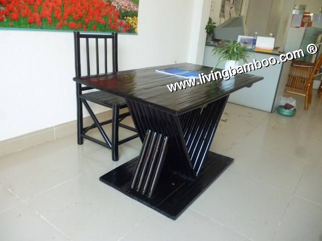 Bamboo Dining Room-PISA DINING SET BLACK