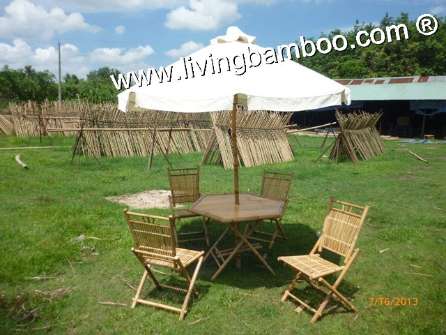 Bamboo Dining Set-MONACO BEACH UMBRELLA SET