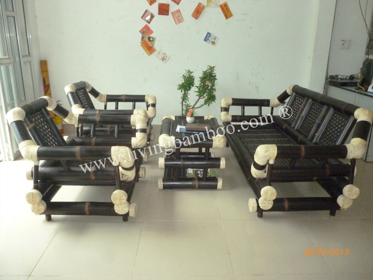 Bamboo Living Room-HA NOI BROWN SOFA SET