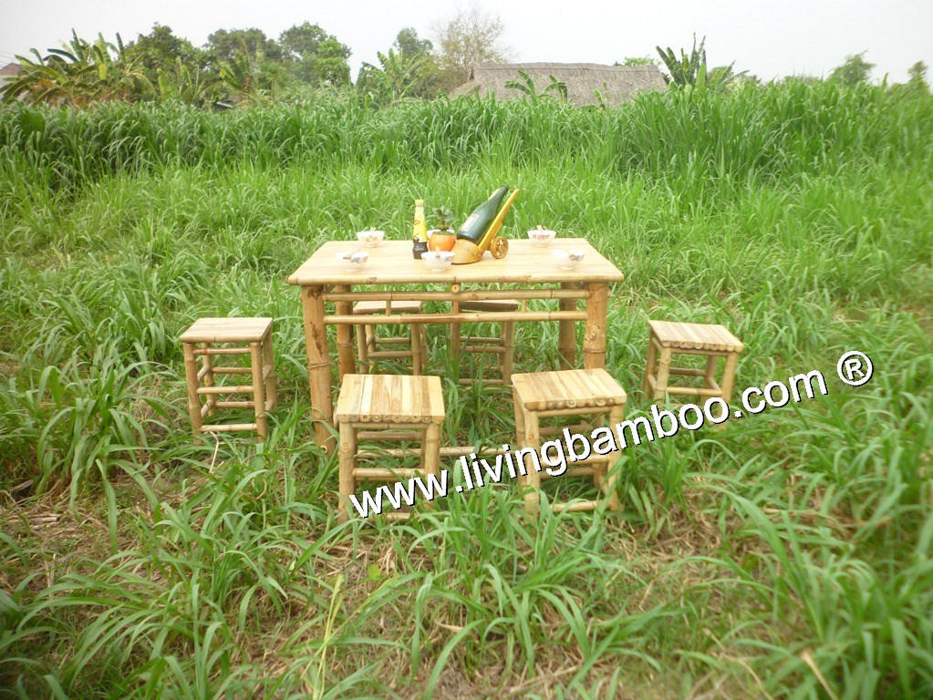 bamboo dining room low table set